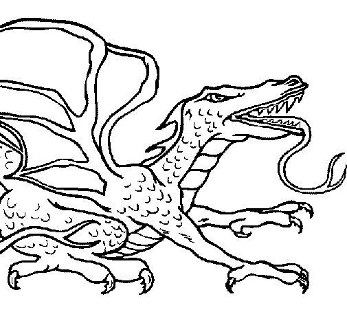 Dibujo de Dragón réptil para Colorear