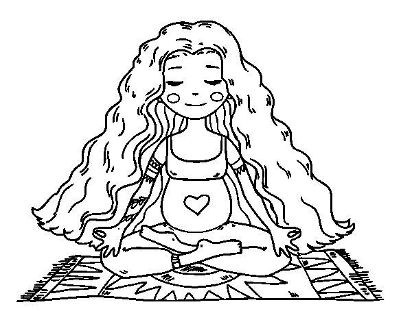 Dibujo de Embarazada practicando yoga para Colorear