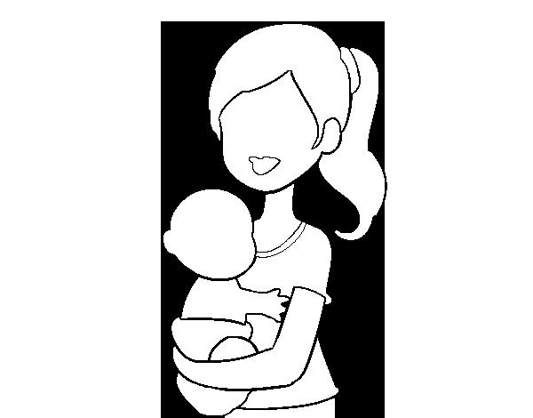 Dibujo de En brazos de mam para Colorear  Dibujosnet