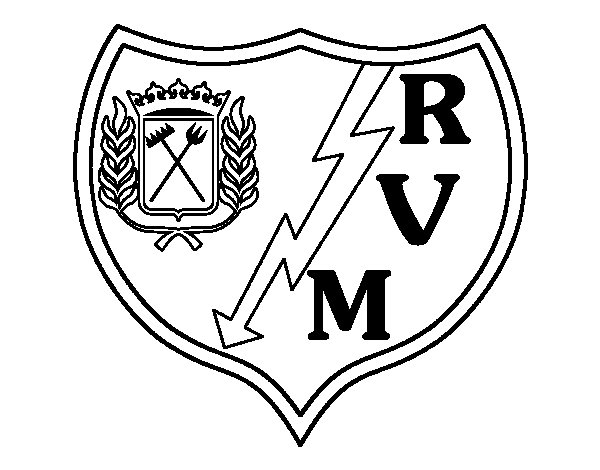 Dibujo de Escudo del Rayo Vallecano de Madrid para Colorear