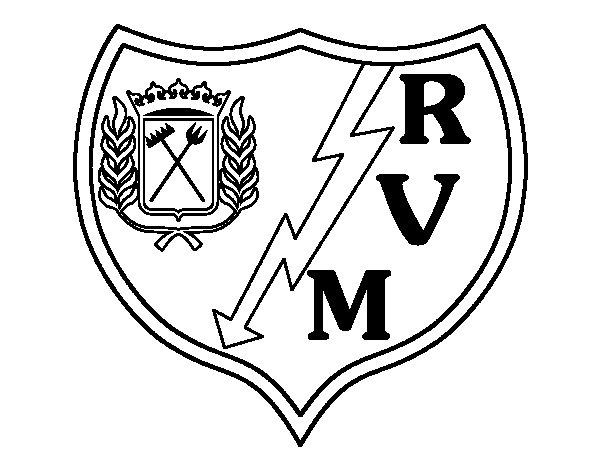 Dibujo de Escudo del Rayo Vallecano de Madrid para Colorear