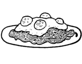 Dibujo de Espaguetis con carne para colorear
