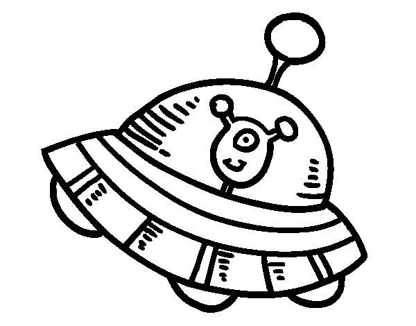 Dibujo de Extraterrestre en nave espacial para Colorear