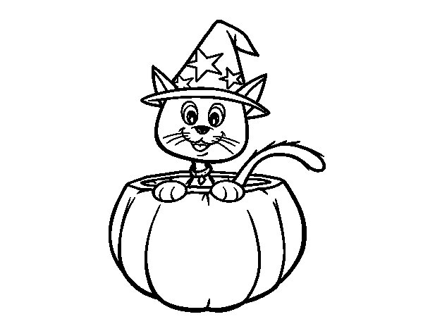 Dibujo de Gatito de Halloween para Colorear