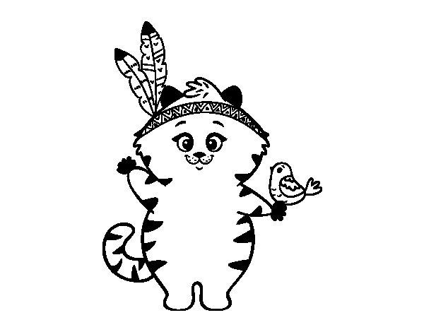 Dibujo de Gatito indio para Colorear