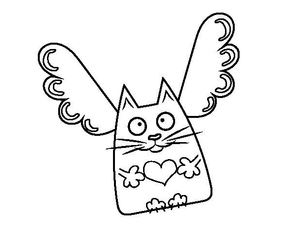 Dibujo de Gato Cupido para Colorear