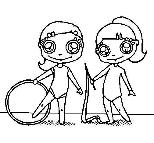 Dibujo de Gimnastas para Colorear