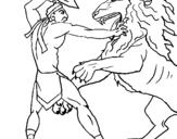 Dibujo de Gladiador contra león para colorear