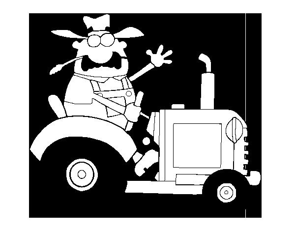 Dibujos De Tractores Para Imprimir Y Colorear: Dibujo De Granjero En Su Tractor Para Colorear