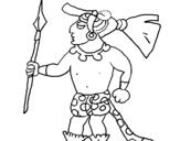 Dibujo de Guerrero con lanza para colorear