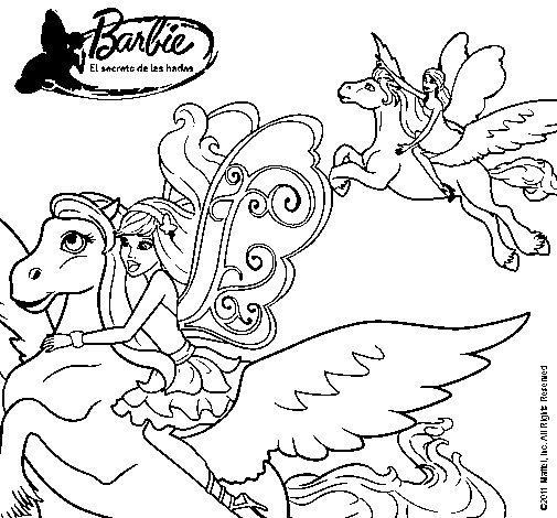 Dibujo de Hadas con sus caballos mgicos para Colorear  Dibujosnet