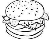 Dibujo de Hamburguesa completa para colorear