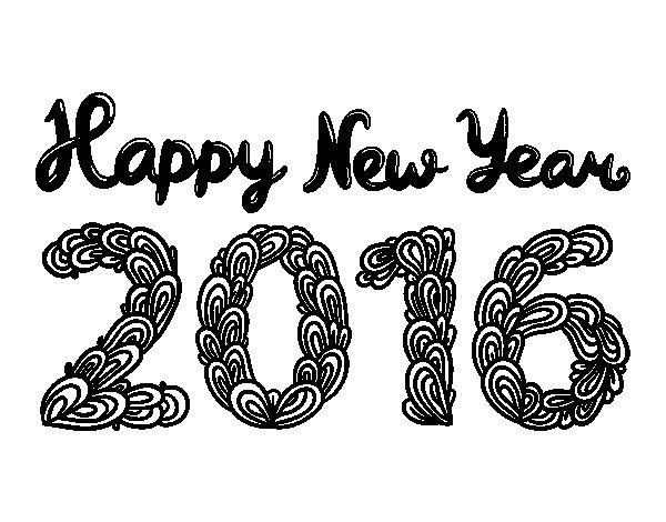 Dibujo de Happy New Year 2016 para Colorear