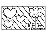 Dibujo de Hola con amor para colorear