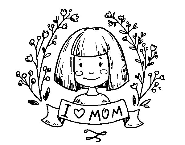 dibujo de i love mom para colorear