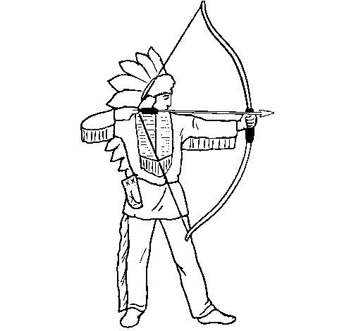 Dibujo de Indio con arco para Colorear