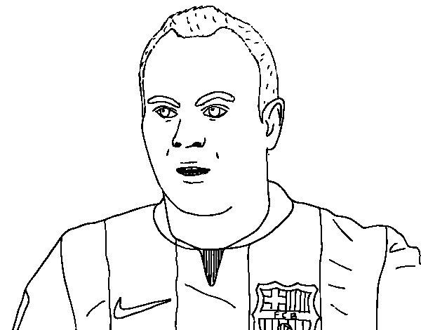 Dibujo de Iniesta del Barça para Colorear