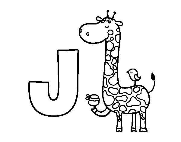 Dibujo de J de Jirafa para Colorear  Dibujosnet