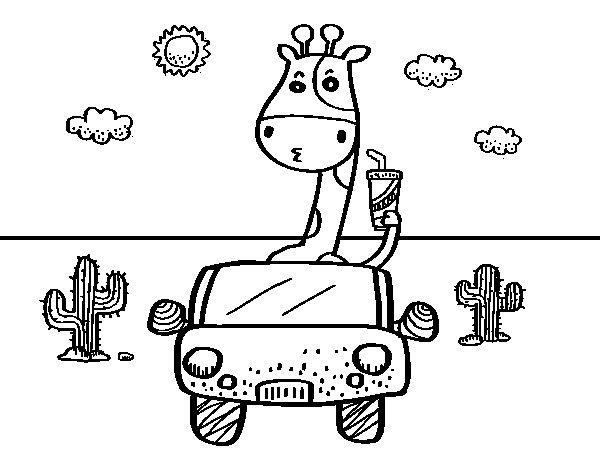 Dibujo de Jirafa conduciendo para Colorear