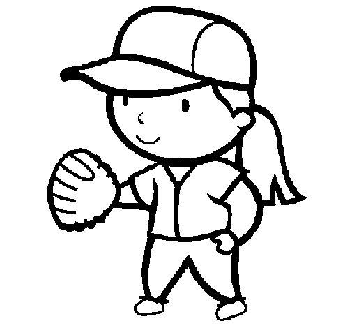 Dibujo de Jugadora de béisbol para Colorear