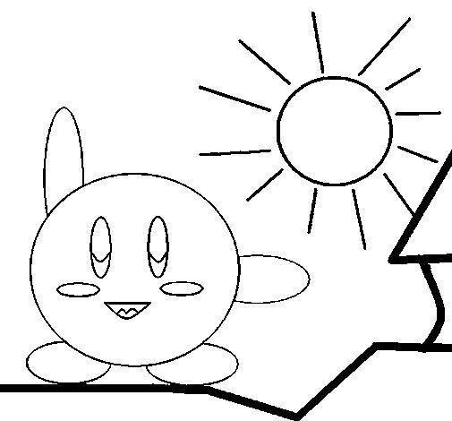 Dibujo de Kirby en un día soleado para Colorear