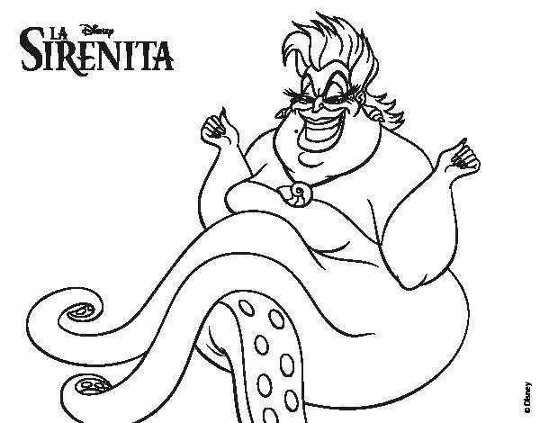 Ariel La Sirenita Para Colorear Para Dibujos De La: Úrsula Para Colorear