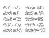Dibujo de La Tabla de multiplicar del 4 para colorear