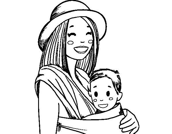 Dibujo de Mamá con portabebés para Colorear