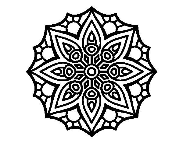 Pagina Para Colorear Mandala Mandalas Dibujos Para: Dibujo De Mandala Simetría Sencilla Para Colorear