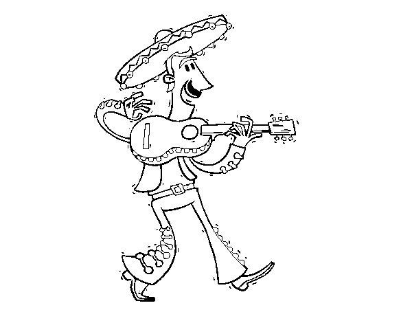 Dibujo de Mariachi con guitarra para Colorear