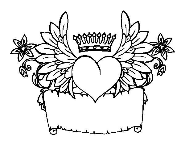 Dibujo de Mensaje con corazón para Colorear