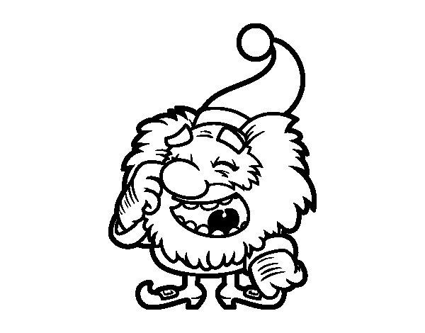 Dibujo de Mini Pap Noel Riendo para Colorear  Dibujosnet