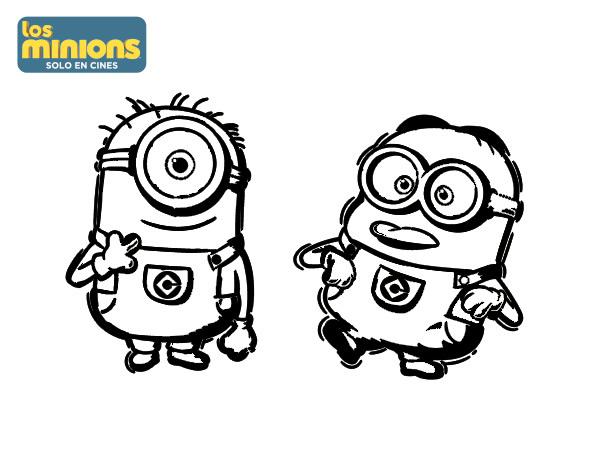 Dibujos Para Colorear De Los Minions Para Imprimir: Carl Y Dave Para Colorear