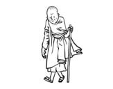 Dibujo de Monje budista para colorear