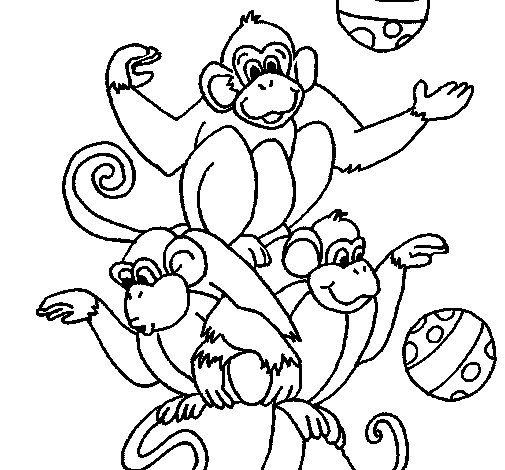 Dibujo de Monos haciendo malabares para Colorear