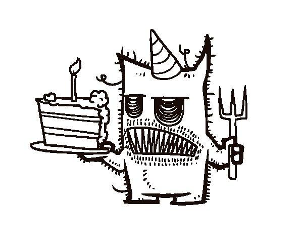 Dibujo de Monstruo con tarta de cumpleaños para Colorear