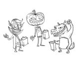 Dibujo de Monstruos de truco o trato para colorear