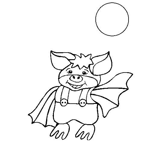 Dibujo de Murciélago con pantalones para Colorear