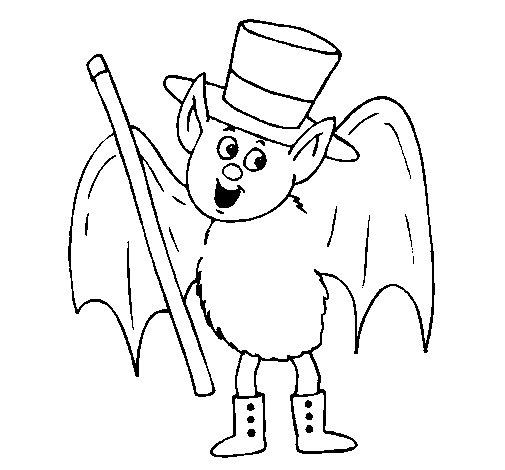 Dibujo de Murciélago mago para Colorear