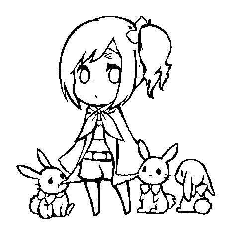 Dibujo de Nia con conejitos para Colorear  Dibujosnet
