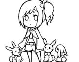 Dibujo de Niña con conejitos para colorear