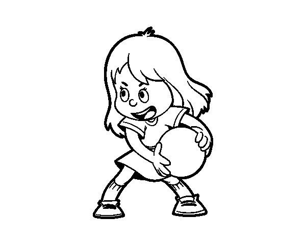 Dibujo de Niña con pelota para Colorear