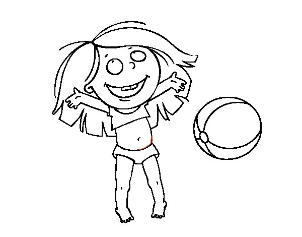 dibujo de ni u00f1a con pelota de playa para colorear