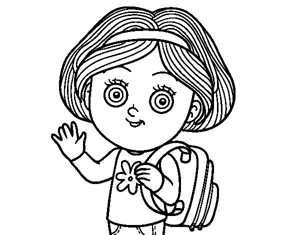Imagenes Para Colorear De Niña: Dibujo De Niña Escolar Para Colorear