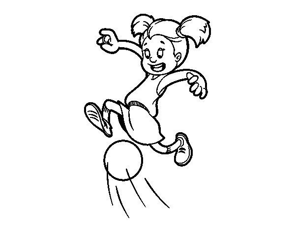 Dibujo De Niña Jugando A Fútbol Para Colorear