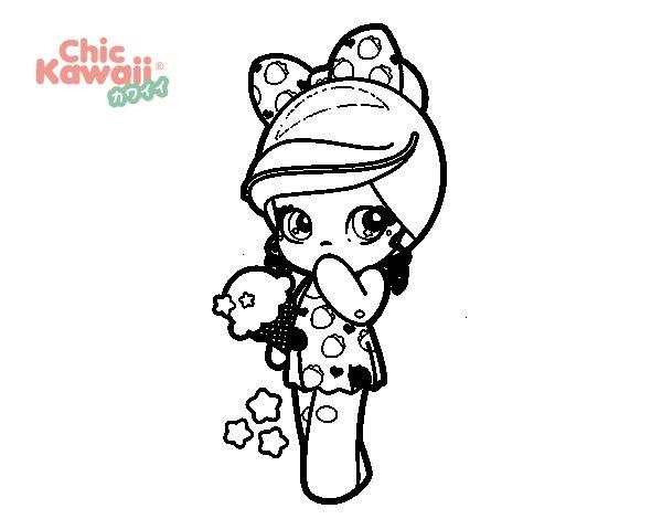 Dibujo de Niña Kawaii con un helado para Colorear