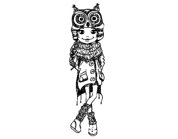 Dibujo de Niña moda de invierno para Colorear