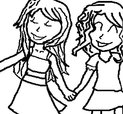 Dibujo de Niñas de la mano para Colorear