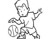 Dibujo de Niño botando la pelota