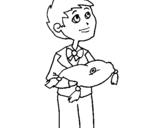 Dibujo de Niño con los anillos para colorear